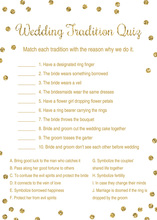 Gold Dots Wedding Tradition Quiz