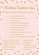 Gold Dots Pink Wedding Tradition Quiz