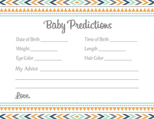 Boho Blue Tribal Patterns Baby Prediction Cards
