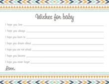 Boho Blue Tribal Patterns Baby Wish Cards