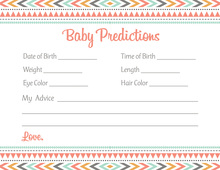 Boho Coral Pink Tribal Patterns Baby Prediction Cards