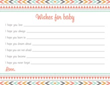 Boho Coral Pink Tribal Patterns Baby Wish Cards