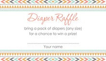 Boho Coral Pink Tribal Patterns Raffle Cards