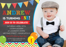 Bright Multicolored Balloons Chalkboard Photo Invitations