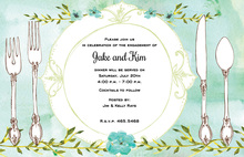 Teal Floral Watercolor Table Setting Invitations