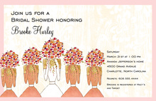 Upheld Bridal Bouquets Pink Border Invitations