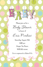 Polka Dot Floral Baby Shower Invitations