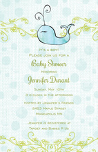 Blue Watercolor Polka Dot Whale Baby Shower Invitations