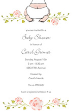 Pink Flowers Baby Shower Invitations