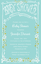 Aqua Flowers Filigree Frame Baby Shower Invitations