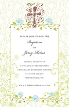 Filigree Cross Aqua Floral Frame Religous Invitations