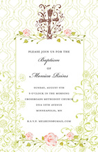 Filigree Cross Pink Floral Frame Religous Invitations