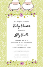 Twins Green Pattern Border Floral Baby Shower Invitations