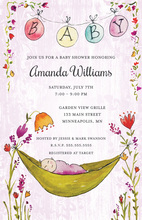 Lavender Wood Grain Floral Hammock Baby Shower Invitations