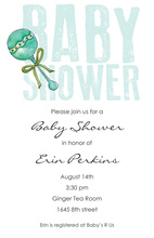 Teal Rattle Stamped Text Baby Shower Invitations