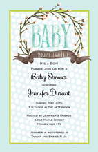 Aqua Polka Dots Flower Wreath Baby Shower Invitations