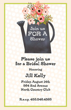 Pink Polka Dot Floral Bouquet Bridal Shower Invitations