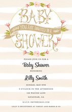 Beige Stripes Floral Banner Baby Shower Invitations