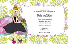 Green Damask Watercolor Davenport Girl Invitations