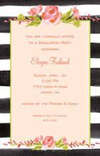 Black Stripes Green Border Watercolor Flowers Invitations