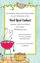 Aqua Wood Grain Border BBQ Patio Invitations