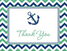 Navy Chevrons Anchor Red Thank You Cards