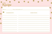 Gold Glitter Graphic Dots Recipe Cards