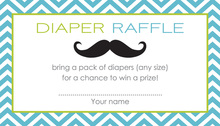 Little Mustache Blue Chevrons Raffle Cards