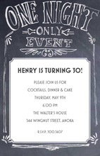 Chalkboard One Night Event Invitations