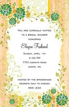 Floral Frame Faux Wood Grain Invitations
