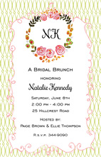 Watercolor Floral Wreath Green Painted Pattern Invitations