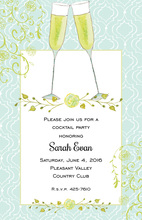 Painted Champagne Flutes Toast Invitations