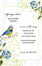 Song Bird Blue Flowers Invitations