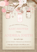Pink Floral Mason Jars Burlap Border Invitations