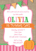 Little Pumpkin Burlap Invitations
