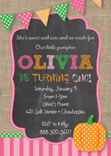 Little Pumpkin Burlap Chalkboard Invitations