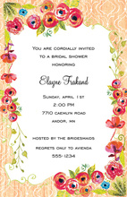 Watercolor Flowers Coral Pattern Frame Invitations