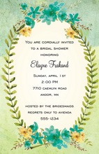 Teal Flowers Green Laurel Leaf Frame Invitations