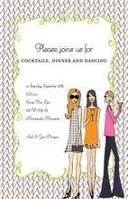 Whimsical Grey Chevron Girls Night Invitations