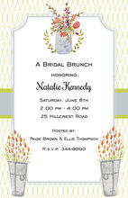 Mason Jar Floral Slate Blue Notched Corner Frame Invitations