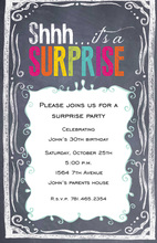 Faux Chalkboard Sign Surprise Party Invitations