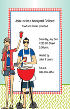 Grilling Modern Couple Chilling Invitations