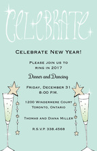 Aqua Champagne Celebrate Invitations