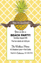 Yellow Pattern Pineapple Invitations