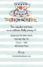 Blue Painted Stripes Tea Party Invitations