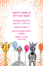 Orange Dots Zoo Balloons Invitations