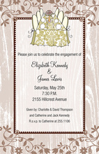 Taupe Filigree Faux Wood Damask Table Invitations