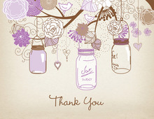 Purple Mason Floral Jars Rustic Thank You Cards