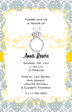 Slate Blue Damask Yellow Filigree Wedding Ring Invitations