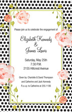 Pink Roses Black Polka Dots Invitations